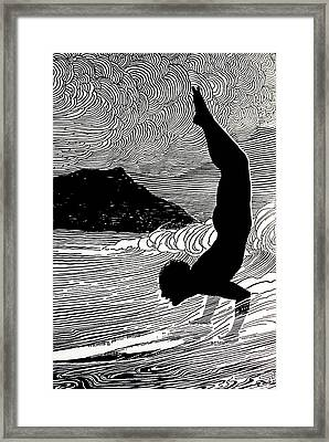 Surfer And Waikiki Framed Print
