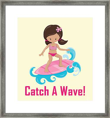 Surfer Art Catch A Wave Girl With Surfboard #19 Framed Print by Life Over Here
