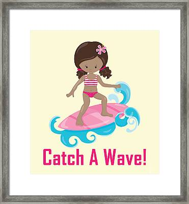 Surfer Art Catch A Wave Girl With Surfboard #21 Framed Print by Life Over Here