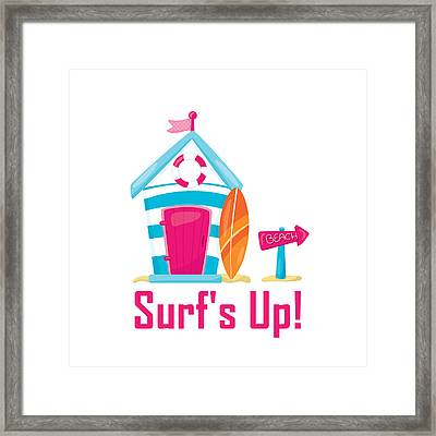 Surfer Art - Surf's Up Cabana House To The Beach Framed Print by Life Over Here