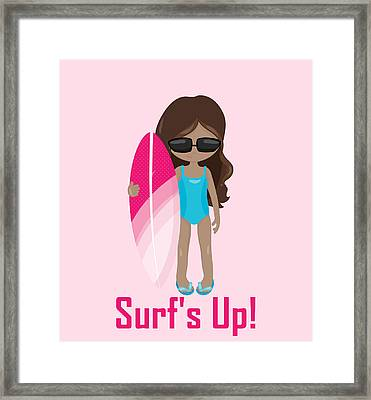 Surfer Art Surf's Up Girl With Surfboard #16 Framed Print by KayeCee Spain
