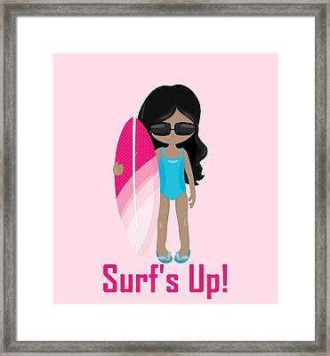 Surfer Art Surf's Up Girl With Surfboard #17 Framed Print by KayeCee Spain