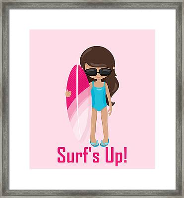 Surfer Art Surf's Up Girl With Surfboard #18 Framed Print by KayeCee Spain