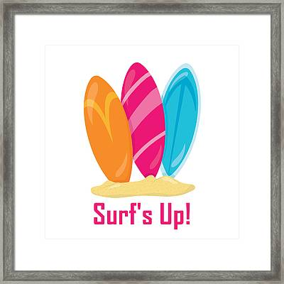 Surfer Art - Surf's Up Surfboards Framed Print by Life Over Here