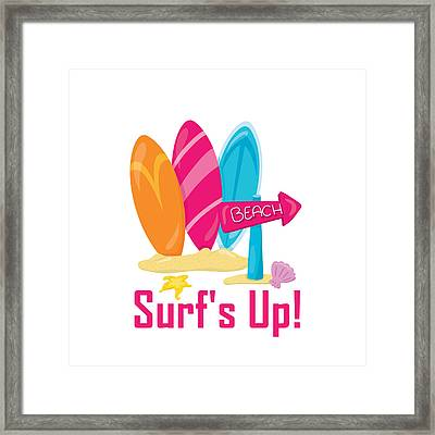 Surfer Art - Surf's Up To The Beach With Surfboards Framed Print by Life Over Here