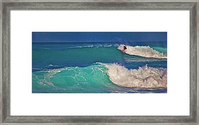 Surfer At Aneaho'omalu Bay Framed Print