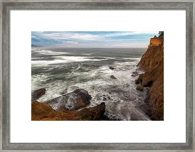 Surfer At Cape Kiwanda In Pacific City Framed Print by David Gn