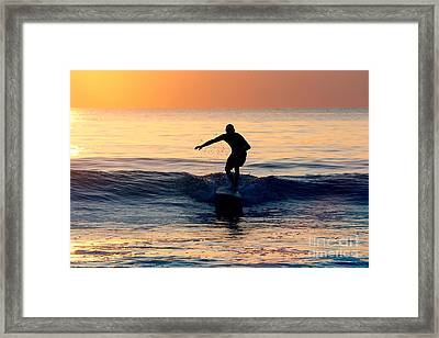 Surfer At Dusk Framed Print