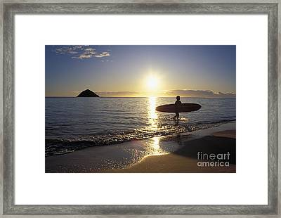 Surfer At Sunrise Framed Print by Ali ONeal - Printscapes