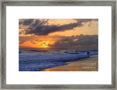 Surfer At Sunset On Kauai Beach With Niihau On Horizon Framed Print by Catherine Sherman