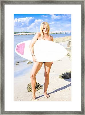 Surfer Babe With Attitude Standing At Beach Framed Print