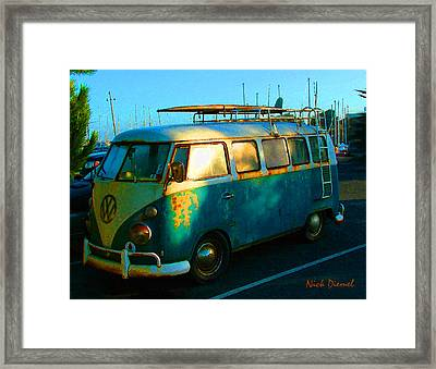 Surfer Bus Framed Print by Nick Diemel
