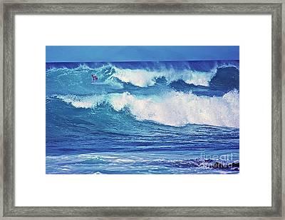 Surfer Catching A Wave Framed Print