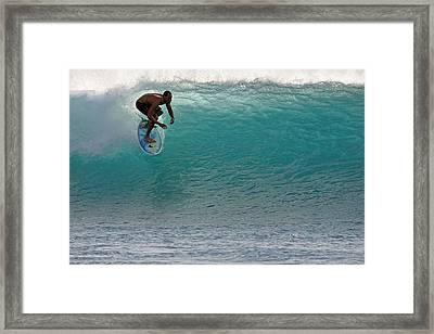 Surfer Dropping In The Blue Waves At Dumps Maui Hawaii Framed Print by Pierre Leclerc Photography