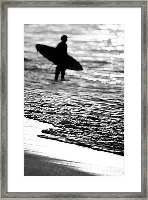 Surfer Foam Framed Print by Sean Davey