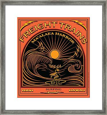 Surfer Freight Trains Maui Hawaii Framed Print by Larry Butterworth