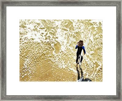 Surfer Girl At Swami's  Framed Print