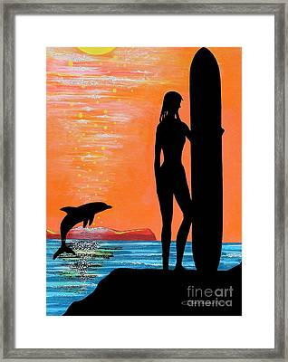 Surfer Girl With Dolphin Framed Print