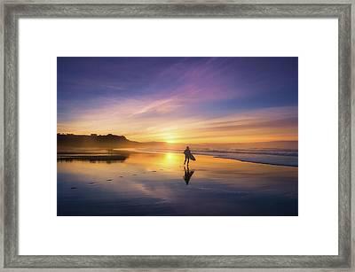 Surfer In Beach At Sunset Framed Print