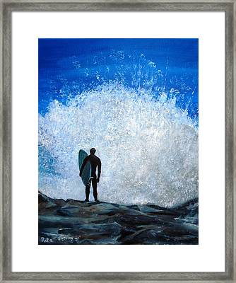 Surfer On Jetty Framed Print