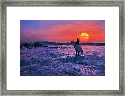 Surfer On Rock Looking Out From Blowing Rocks Preserve On Jupiter Island Framed Print