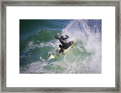 Surfer Ripping It Up On The West Side, Santa Cruz Framed Print by Gary Dance