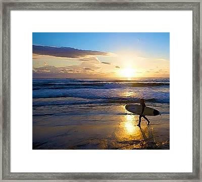 Surfer Sunset Framed Print by Deborah Rosier