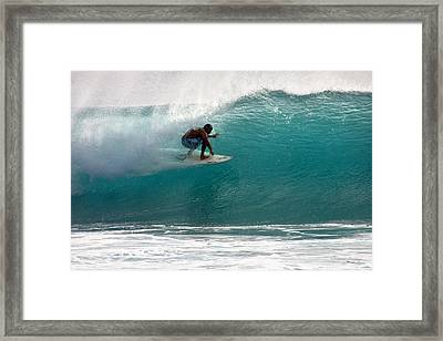 Surfer Surfing In The Tube Of Blue Waves At Dumps Maui Hawaii Framed Print by Pierre Leclerc Photography