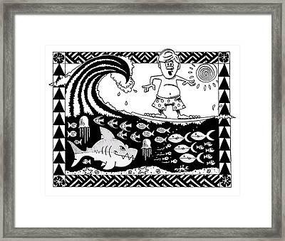Surfer Toon Framed Print by Aaron Bodtcher