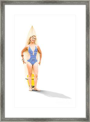 Surfer With Surf Board Framed Print by Jorgo Photography - Wall Art Gallery