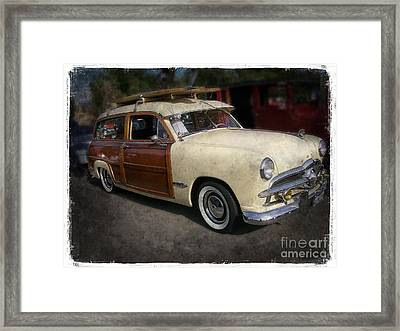 Surfer Wood Panel Car Framed Print