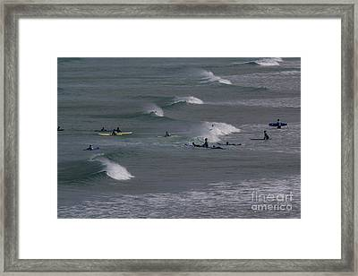 Framed Print featuring the photograph Photographs Of Cornwall Surfers At Fistral by Brian Roscorla