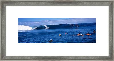 Surfers In The Sea, Tahiti, French Framed Print