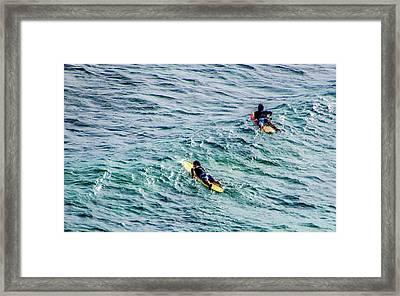 Surfers Framed Print by Jera Sky