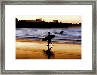Surfers On The Beach At Sunset Framed Print by Elaine Plesser