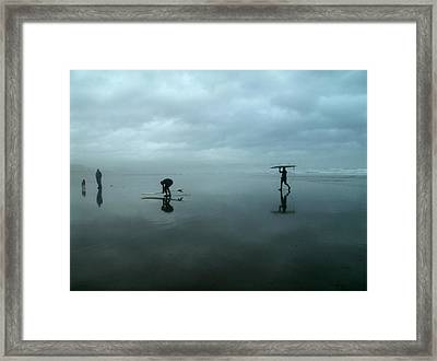 Surfers Stormy Day Framed Print by Lois Lepisto