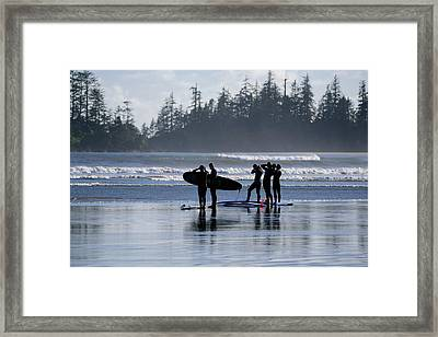 Surfers Suiting Up Framed Print