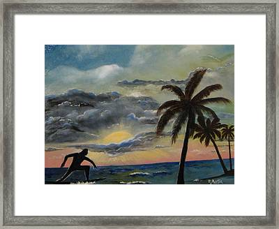 Surfers Sunset Framed Print