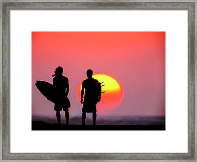 Surfers Sunset Framed Print by Sean Davey