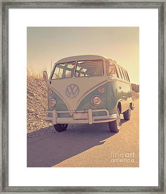 Surfer's Vintage Vw Samba Bus At The Beach 2016 Framed Print by Edward Fielding
