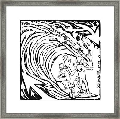 Surfin' Monkeys Maze Cartoon Framed Print