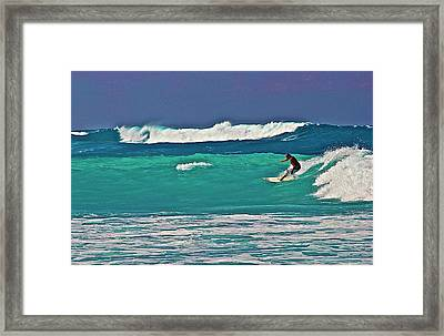 Surfing At Anaeho'omalu Bay 2 Framed Print