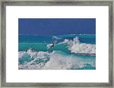 Surfing At Anaeho'omalu Bay Framed Print
