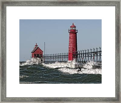 Surfing At Grand Haven Framed Print by Wade Aiken