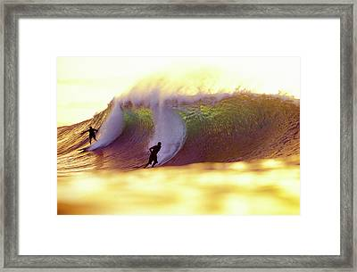Gold Pipe Surfers Framed Print