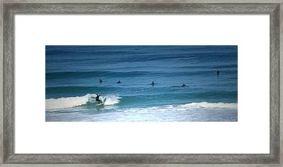 Surfing Carmel Beach Framed Print by Joyce Dickens