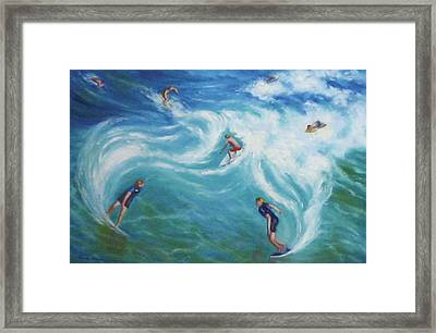 Surfing Framed Print by Diane Quee