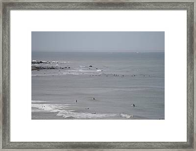Surfing Ditch Plains Montauk Framed Print by Christopher Kirby