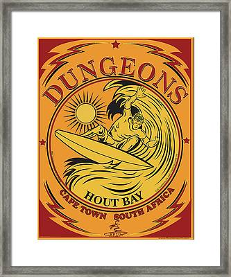 Surfing Dungeons Cape Town South Africa Framed Print by Larry Butterworth