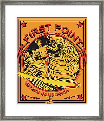 Surfing First Point Malibu California Framed Print by Larry Butterworth
